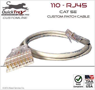 "125 Ft ""110"" to ""RJ-45"" Cat 5E Custom Patch Cable"