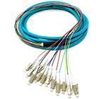1 meter LC 12 Fiber Jacketed PVC 50/125 OM3, 10 GIG Multimode Fiber Optic Pigtail Kit Assembly