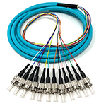 3 meter ST 12 Fiber Jacketed PVC 50/125 OM3, 10 GIG Multimode Fiber Optic Pigtail Kit Assembly