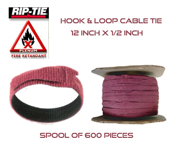 12 Inch by 1/2 wide Rip-Tie Lite Fire Retardant Cable Ties - Spool of 600 Pieces