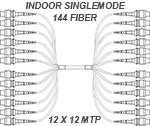 Custom Indoor MTP Singlemode APC 144 Fiber (12 x 12) Trunk Cable Assembly - Plenum Rated - made in USA by QuickTrex