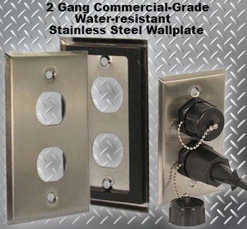 2 Gang Commercial-Grade Stainless Steel Water-Resistant Wallplate