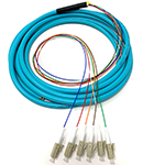 3 meter LC 6 Fiber Jacketed PVC 50/125 OM4, 10/40/100 GIG Multimode Fiber Optic Pigtail Kit Assembly