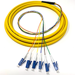 3 meter LC 6 Fiber Jacketed PVC Singlemode Fiber Optic Pigtail Kit Assembly