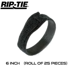 6 Inch by 1/2 wide Rip-Tie Lite Cable Ties - Roll of 25 pieces