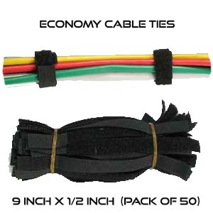 9 Inch by 1/2 wide Generic Economy Cable Ties - Bulk Pack of 50