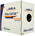 Cat 5E 350 UTP, Plenum rated (CMP), Solid Cond. Cable - 1000 Ft by ABA Elite