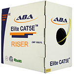 Cat 5E 350 UTP, PVC, Riser rated (CMR), Solid Cond. Cable - 1000 Ft by ABA Elite