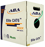 Cat 6E 1000x,  UTP, PVC Riser rated (CMR), Solid Cond. Cable - 1000Ft by ABA Elite