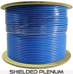 Cat 6 1000x Shielded (STP), Plenum rated (CMP), Solid Cond. Cable - 1000 Ft by ABA Elite