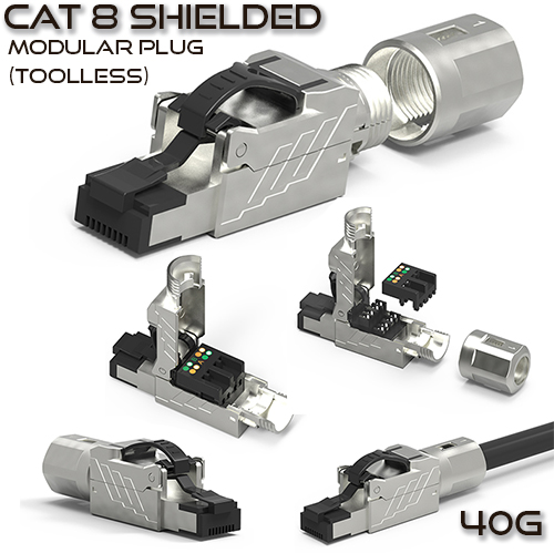 Cat 8 Shielded Modular Plug - Field Termination / Toolless - 40G