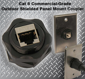 Cat 6 Commercial-Grade Outdoor Shielded Bulkhead Panel Mount Coupler