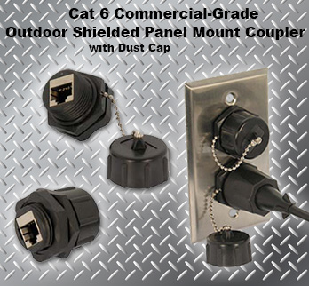 Cat 6 Commercial-Grade Outdoor Shielded Bulkhead Panel Mount Coupler with Dust Cap