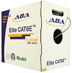 Cat 6E 1000x, UTP, Plenum rated (CMP), Solid Cond. Cable - 1000 Ft by ABA Elite