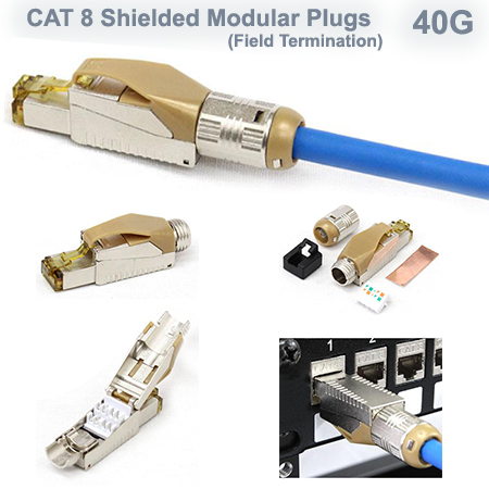 Cat 8 Shielded Modular Plug - Field Termination - 40G - (Fits Cat7A & Cat8 Cable)