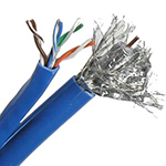 Cat 5E / RG6 Quad Combo Riser Rated Cable (CMR) - BLUE - 500ft