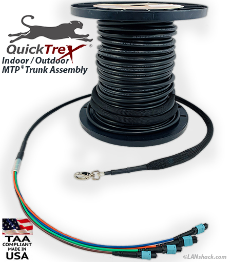 Custom Indoor / Outdoor MTP/MPO OM3 10-Gig 96 Fiber (8 x 12) Trunk Cable - made in USA by QuickTreX
