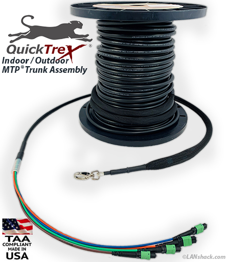 Custom Pre-Terminated Corning ALTOS® Outdoor (OSP) MTP Singlemode 48 Fiber (4 x 12) APC Trunk Cable Assembly- made in USA by QuickTreX®