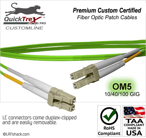 6 Meter LC to LC OM5 (50/125) - 10/40/100/400 GIG Multimode Duplex Patch Cable - Plenum Rated - USA CustomLine by QuickTreX®