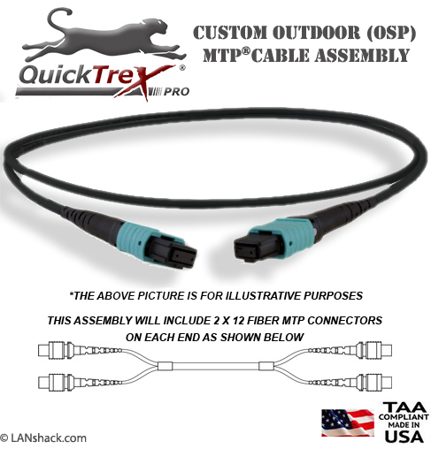Custom Outdoor (OSP) MTP OM4 UPC - 40/100G - 24 Fiber (2 x 24) Trunk Cable - made in USA by QuickTreX®