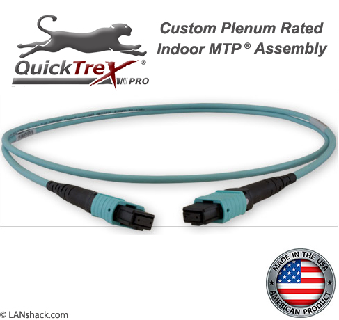 Custom Indoor MTP/MPO OM4 40/100G 12 Fiber Trunk Cable - Plenum Rated - made in USA by QuickTreX