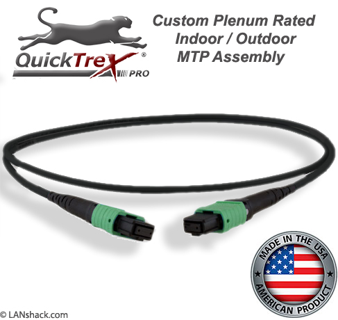 Custom Pre-Terminated Corning ALTOS® Outdoor (OSP) MTP Singlemode 12 Fiber APC Trunk Cable Assembly- made in USA by QuickTreX®