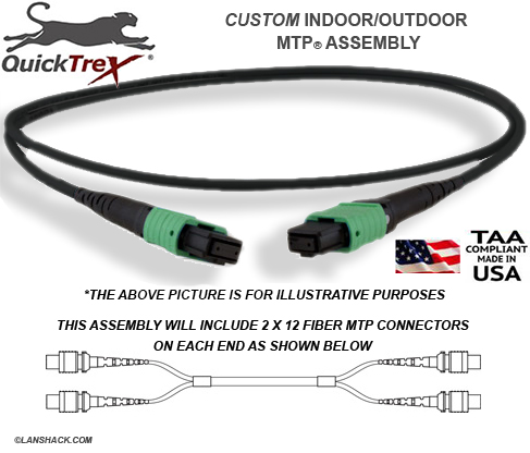 Custom Indoor / Outdoor MTP/ MPO Singlemode APC 24 Fiber (4 x 12) Trunk Cable - made in USA by QuickTreX