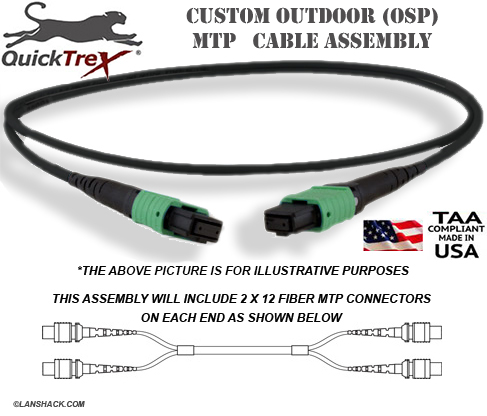 Custom Pre-Terminated Corning ALTOS® Outdoor (OSP) MTP Singlemode 24 Fiber (2 x 12) APC Trunk Cable Assembly- made in USA by QuickTreX®
