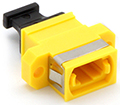 MPO Singlemode (Key UP - Key Down) Fiber Optic Coupler with Flange - Yellow