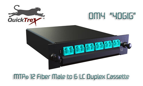 "MTP® 24 Fiber Male OM4 ""40 GIG"" Multimode to 12 Duplex LC Cassette"