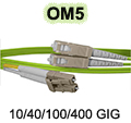 1 Meter LC to SC OM5 (50/125) - 10/40/100/400 GIG Multimode Duplex Patch Cable - Plenum Rated - USA CustomLine by QuickTreX®