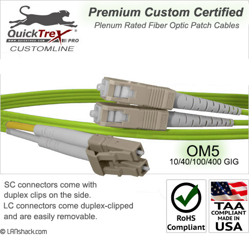 10 Meter LC to SC OM5 (50/125) - 10/40/100/400 GIG Multimode Duplex Patch Cable - Plenum Rated - USA CustomLine by QuickTreX®