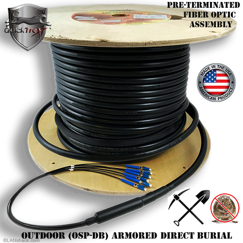 12 Strand CustomLine Outdoor Armored Direct Burial (OSP-DB) Multimode 10-GIG 50/125 OM3 Assembly by QuickTreX