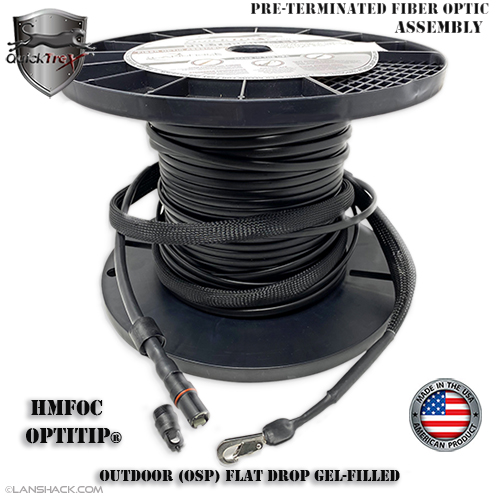 Weatherproof IP68 Connectorized HMFOC OptiTip® Singlemode APC 12 Fiber Corning SST-Drop™ MTP Cable Assembly - Outdoor (OSP) Gel-Filled - custom made in USA by QuickTreX®