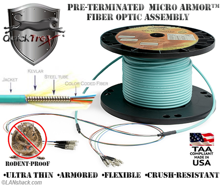 96 Strand Custom Indoor Ultra Thin Micro Armor (Plenum) 50/125 OM4 Multimode Pre-Terminated Fiber Optic Assembly by QuickTreX
