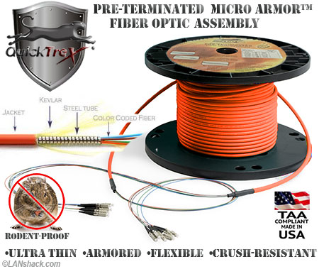 12 Strand Custom Indoor Ultra Thin Micro Armor (Plenum) 62.5/125 OM1 Multimode Pre-Terminated Fiber Optic Assembly by QuickTreX