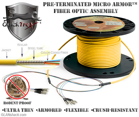 48 Strand Custom Indoor Ultra Thin Micro Armor (Plenum) Singlemode  Pre-Terminated Fiber Optic Assembly by QuickTreX