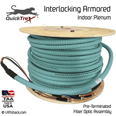 4 Strand Indoor Plenum 10-GIG 50/125 OM3 Multimode Interlock Armor Cable