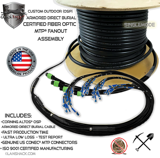 Custom Corning ALTOS® Outdoor (OSP) Armored Direct Burial 12 Fiber MTP® Singlemode Fanout Assembly (1 x 12 MTP to 12 Simplex Connectors) - Made in USA by QuickTreX® with Genuine US Conec® Connectors