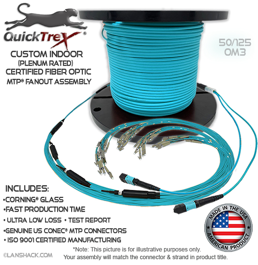 Custom Indoor 72 Fiber MTP® OM3 - 50/125 Fanout Assembly (3 x 24 MTP to 72 Simplex Connectors) - Plenum Rated - made in USA by QuickTreX® with Genuine US Conec® Connectors and Corning® Glass