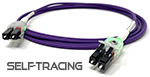 Self Tracing LED - LC to LC OM4 - 50/125 LSZH Duplex Fiber Optic Patch Cable - Purple - USA CustomLine by QuickTreX®