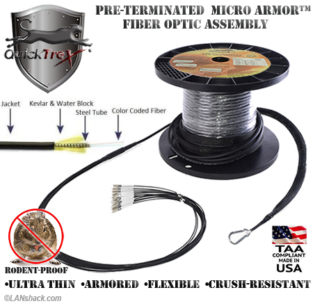 10 Strand Custom Indoor/Outdoor Ultra Thin Micro Armor (Plenum) 50/125 OM4 Multimode Pre-Terminated Fiber Optic Assembly by QuickTreX