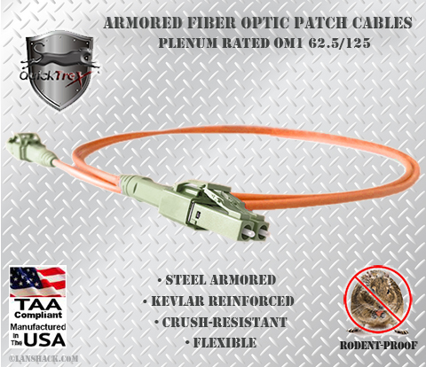 Indoor Rugged Stainless Steel Armored (Plenum) 62.5/125 OM1 Multimode Patch Cable - USA CustomLine by QuickTreX®