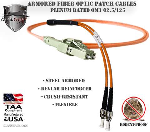 LC Uniboot to ST Stainless Steel Armored Fiber Optic Patch Cable (Plenum Rated) 62.5/125 OM1 - Multimode - USA CustomLine by QuickTreX®