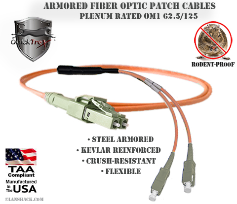 LC Uniboot to SC Stainless Steel Armored Fiber Optic Patch Cable (Plenum Rated) 62.5/125 OM1 - Multimode - USA CustomLine by QuickTreX®