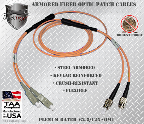 SC to FC Stainless Steel Armored Fiber Optic Patch Cable (Plenum Rated) 62.5/125 OM1 - Multimode - USA CustomLine by QuickTreX®