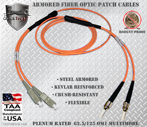 SC to ST Stainless Steel Armored Fiber Optic Patch Cable (Plenum Rated) 62.5/125 OM1 - Multimode - USA CustomLine by QuickTreX®