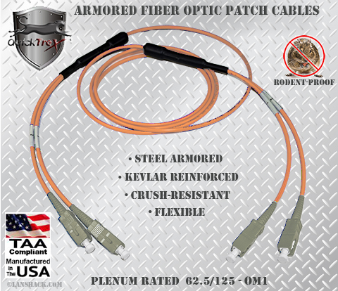 SC to SC Stainless Steel Armored Fiber Optic Patch Cable (Plenum Rated) 62.5/125 OM1 - Multimode - USA CustomLine by QuickTreX®