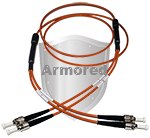 ST to ST Stainless Steel Armored Fiber Optic Patch Cable (Plenum Rated) 62.5/125 OM1 - Multimode - USA CustomLine by QuickTreX®