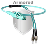 LC Uniboot to FC Stainless Steel Armored Fiber Optic Patch Cable (Plenum Rated) 50/125 OM3 - 10 GIG Multimode - USA CustomLine by QuickTreX®